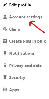 account setting Pinterest