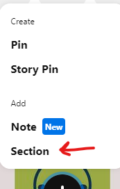 section option in Pinterest