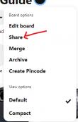 share option in Pinterest board